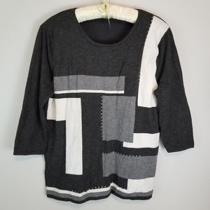 La Madona Plus 1X Gray & White 3/4 Sleeve Sweater